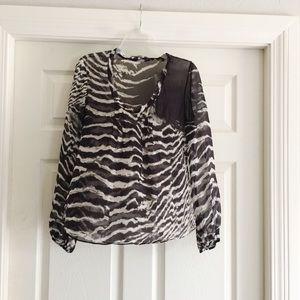 Elie Tahari Zebra Striped 100% Silk Top C411